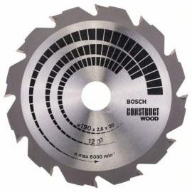 Katkaisuterä puulle Bosch CONSTRUCT WOOD; 190x2,6x30,0 mm; Z12; 12°