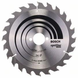 Katkaisuterä puulle Bosch OPTILINE WOOD; 190x2x30,0 mm; Z24; 15°