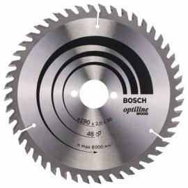 Katkaisuterä puulle Bosch OPTILINE WOOD; 190x2x30,0 mm; Z48; 15°