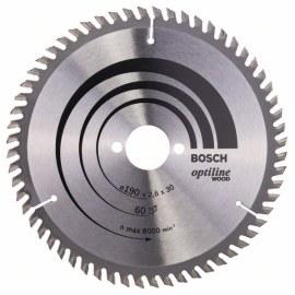 Katkaisuterä puulle Bosch OPTILINE WOOD; 190x2,6x30,0 mm; Z60; 15°