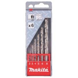 Metalliporanteräsarja Makita HSS-G; 2-8 mm; 6 kpl.