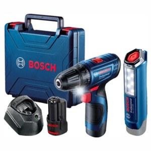 Pora/ruuvinväännin Bosch GSR 120-Li; 12 V; 2x2,0 Ah akku + Taskulamppu GLI 12V-300