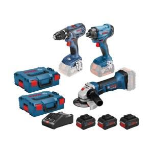 Työkalusarja Bosch (GSR 18V-28 + GDR 18V-160 + Bosch GWS 18-125 V-Li); 18 V; 3x4,0 Ah akku