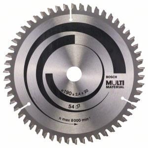 Katkaisuterä puulle Bosch MULTI MATERIAL; 190x2,4x20,0 mm; Z54; -5°