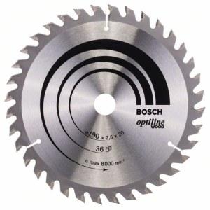 Katkaisuterä puulle Bosch OPTILINE WOOD; 190x2,6x20,0 mm; Z36; 15°