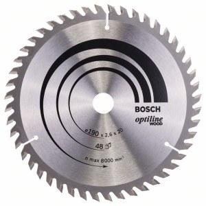 Katkaisuterä puulle Bosch OPTILINE WOOD; 190x2,6x20,0 mm; Z48; 15°