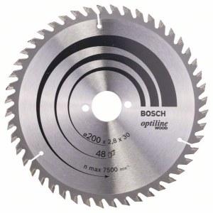 Katkaisuterä puulle Bosch OPTILINE WOOD; 200x2,8x30,0 mm; Z48; 15°