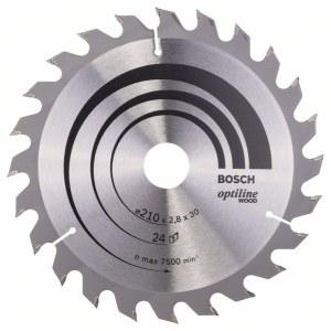 Katkaisuterä puulle Bosch OPTILINE WOOD; 210x2,8x30,0 mm; Z24; 15°