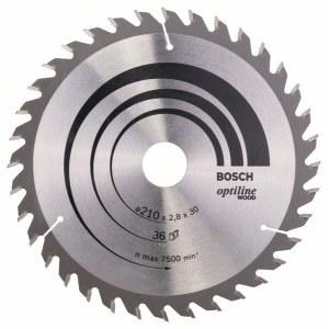 Katkaisuterä puulle Bosch OPTILINE WOOD; 210x2,8x30,0 mm; Z36; 15°