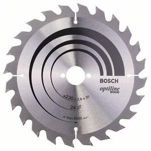 Katkaisuterä puulle Bosch OPTILINE WOOD; 230x2,8x30,0 mm; Z24; 15°
