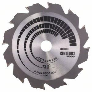 Katkaisuterä puulle Bosch CONSTRUCT WOOD; 160x2,6x20,0 mm; Z12; 12°