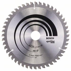 Katkaisuterä puulle Bosch OPTILINE WOOD; 216x2,8x30,0 mm; Z48; -5°