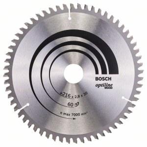 Katkaisuterä puulle Bosch OPTILINE WOOD; 216x2,8x30,0 mm; Z60; -5°