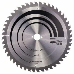 Katkaisuterä puulle Bosch OPTILINE WOOD; 315x3,2x30,0 mm; Z48; 10°