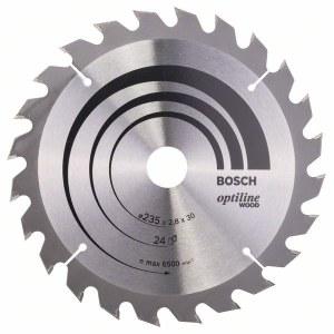 Katkaisuterä puulle Bosch OPTILINE WOOD; 235x2,8x30,0 mm; Z24; 15°