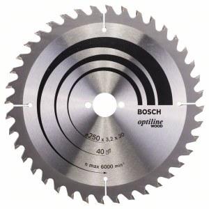 Katkaisuterä puulle Bosch OPTILINE WOOD; 250x3,2x30,0 mm; Z40; 15°