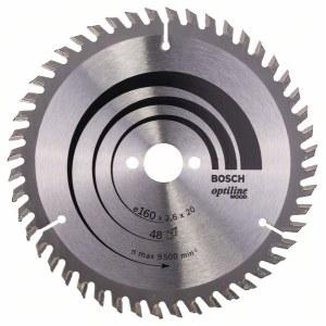 Katkaisuterä puulle Bosch OPTILINE WOOD; 160x2,6x20,0 mm; Z48; 15°