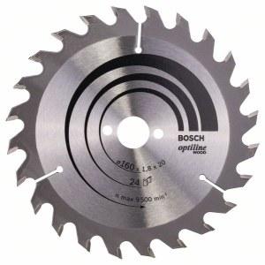 Katkaisuterä puulle Bosch OPTILINE WOOD; 160x1,8x20,0 mm; Z24; 15°