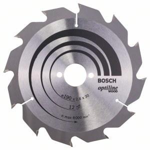 Katkaisuterä puulle Bosch OPTILINE WOOD; 190x2,6x30,0 mm; Z12; 15°