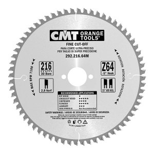 Katkaisuterä puulle CMT 216x2,8x30; Z64; -5°