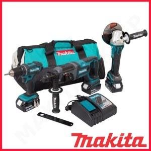 Työkalusarja Makita DLX3078TX1 (DGA504 + DHR241 + DDF482); 18 V; 3x5,0 Ah akku