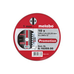Hiova katkaisulaikka Metabo 616359000; 125x1,0 mm; 10 kpl; metallille